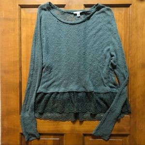 American Eagle Green Knit Sweater Lace Detail